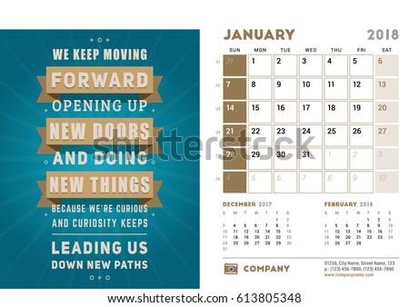 Desk Calendar Template 2018 Year January Stock Vector 613805348 ...
