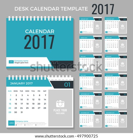 Desk Calendar Template 2017 Year Set Stock Photo Photo Vector