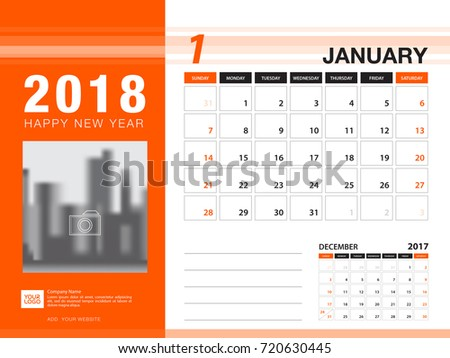 desk calendar 2018 template january 2018 month planner week starts on sunday