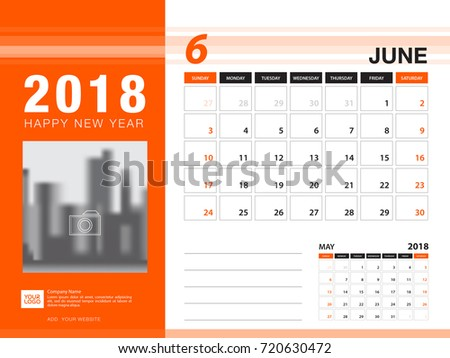 Desk Calendar 2018 Template June 2018 Stock Vector Royalty Free