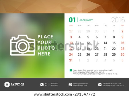 Desk Calendar 2016 Vector Design Template. Week Starts Sunday - stock vector