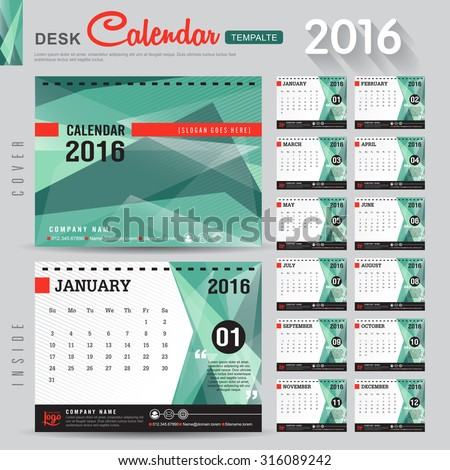 Desk Calendar 2016 Vector Design Template with abstract pattern. Set of 12 Months. vector illustration - stock vector