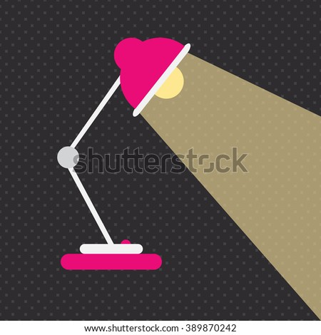 Desk lamp icon isolated on black pattern background. Cute pink and white table desk lamp with lightbulb and power button on black backdrop. Electricity and technology conceptual vector illustration. - stock vector