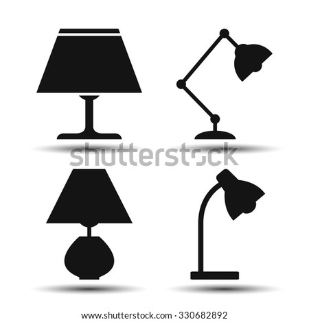 desk lamp. set of vector icons