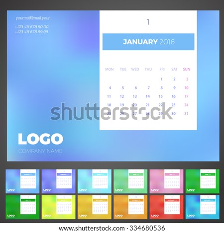 Desk Light Calendar 2016 with space for photo Vector Template. Set of 12 Months. Week Starts Monday - stock vector