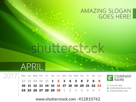 Desk Line Calendar for 2017 Year. Vector Design Print Template with Abstract Background. April. Week Starts Monday