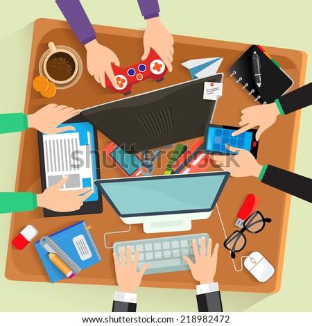 Desk, vector illustration flat design - stock vector