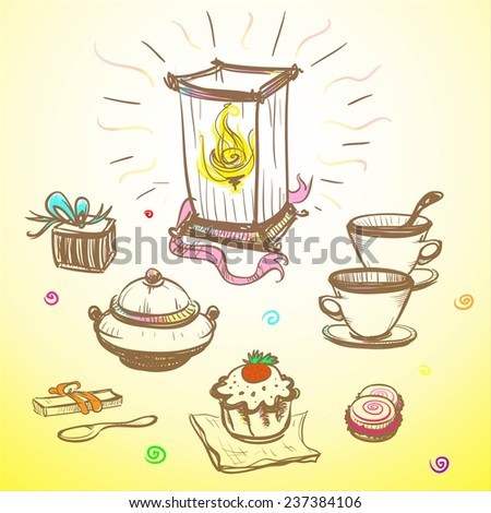 Desk with a lamp, cups and desserts symbolizing holiday on a yellow background