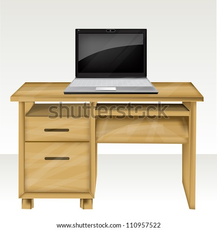 Desk with laptop eps10 - stock vector