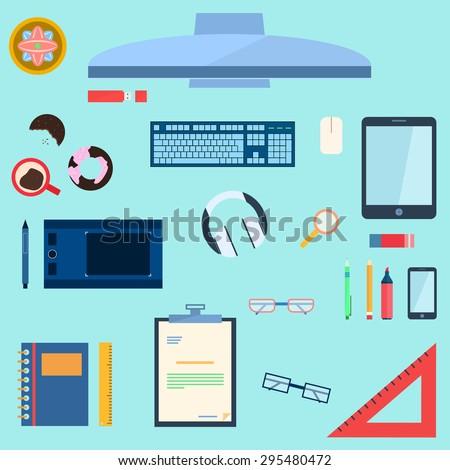 desktop - stock vector