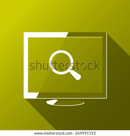 Desktop and magnifying glass - stock vector