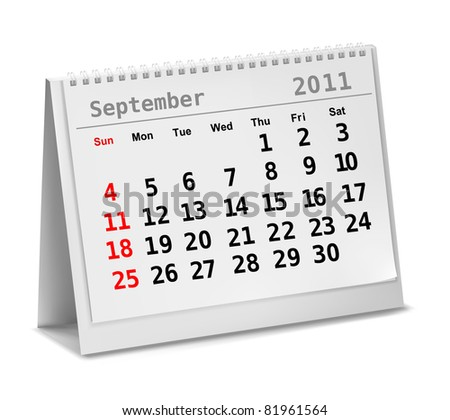Desktop calendar 2011 - September. Vector illustration. - stock vector
