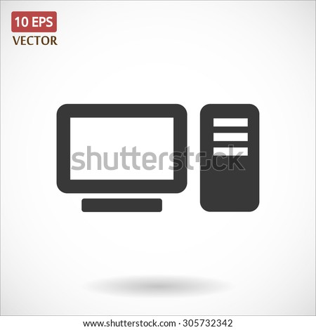 desktop computer icon Vector icon 10 EPS - stock vector