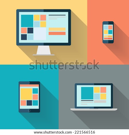 Desktop computer, laptop, tablet and smart phone on color background flat vector illustration. - stock vector