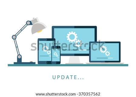 Desktop computer, laptop, tablet and smartphone with update screen. Update process. Install new software, operating system, update support. Vector illustration. - stock vector
