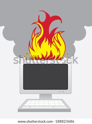 Desktop computer on fire with smoke  - stock vector