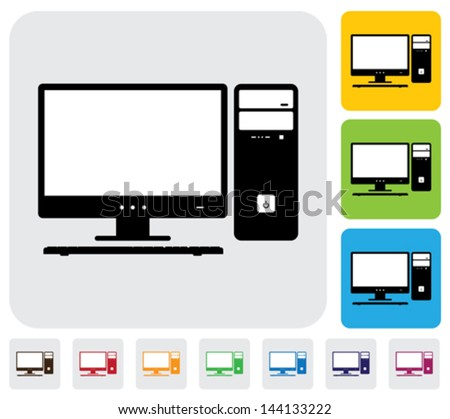 Desktop computer screen, CPU and keyboard- simple vector graphic. The illustration has simple colorful icons on green,orange & blue backgrounds & is useful for websites,blogs,documents,printing,etc - stock vector