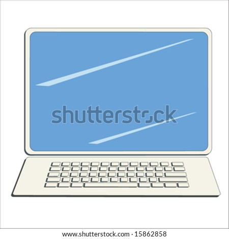 Desktop computer with screen and keyboard - stock vector