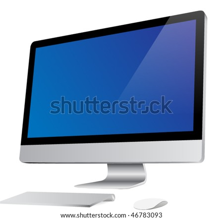 Desktop computer with wireless keyboard and mouse. Vector. Isolated on white. - stock vector