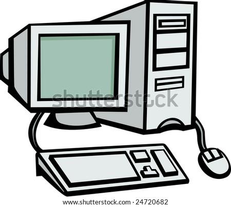 desktop computer workstation - stock vector