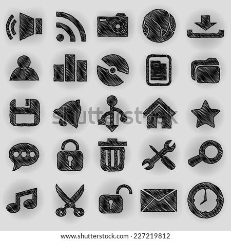 Desktop icons pen shading effect sets - stock vector