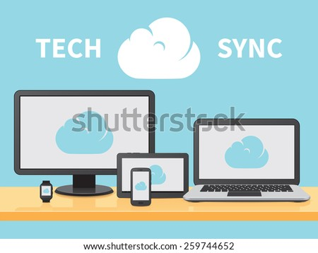 Desktop, Mobile and Wearable Devices on Desk Connected to Cloud Vector Illustration - stock vector