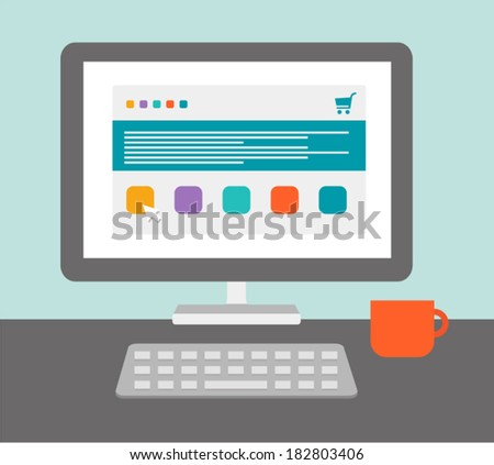 Desktop of computer in flat style. Online shopping. Vector illustration - stock vector