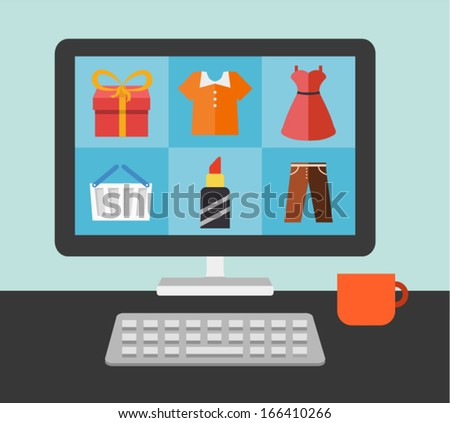 desktop of computer in flat style. Vector illustration - stock vector