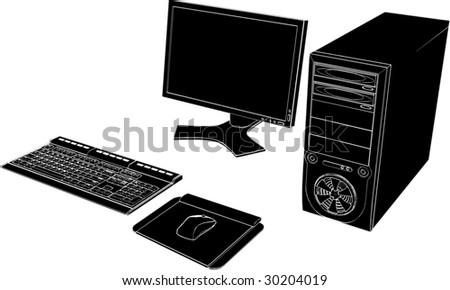 Desktop PC Vector 03 - stock vector