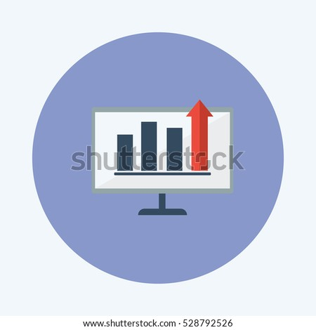 desktop with statistic flat icon vector