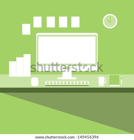 Desktop & Workplace ,Vector cartoon business - stock vector