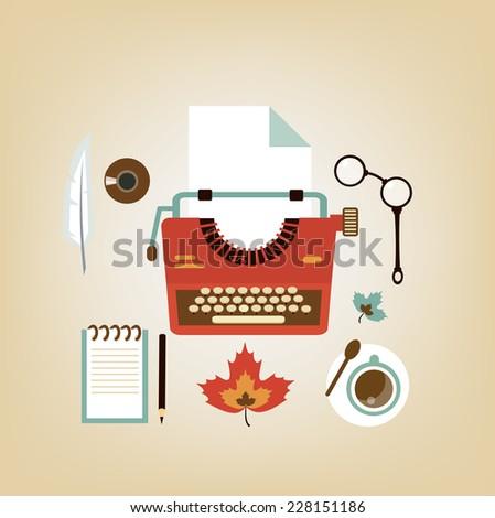 desktop writer illustration - stock vector