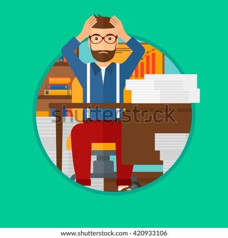 Despair man sitting in office. - stock vector