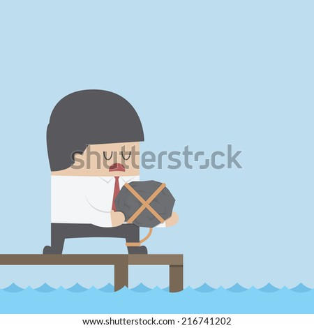 Desperate businessman holding the rock and dicide to commit suicide, VECTOR, EPS10 - stock vector
