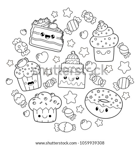 Dessert Doodle Cute Cartoons Kawaii Style Vector de ...