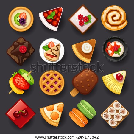 dessert icon set-2 - stock vector