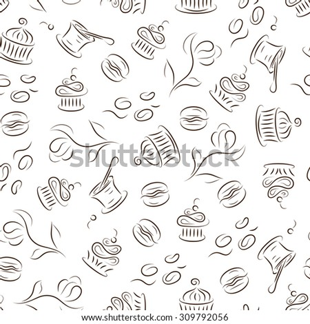 Dessert. Seamless pattern with cupcakes, macaroon, yogurt, muffins, coffee beans. Food background.