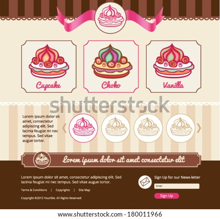 Dessert theme for web template - stock vector