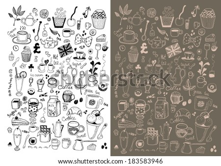 Desserts collection - stock vector