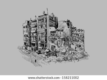 Destroyed building - stock vector