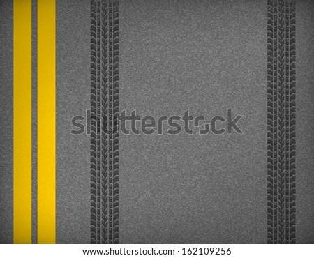 Detail black tire tracks on road, vector illustration  - stock vector