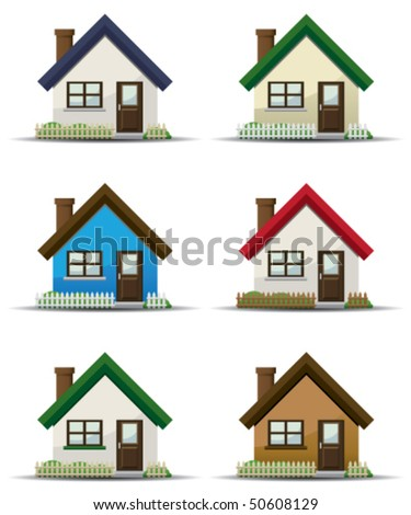 Detail House Icon Set - stock vector