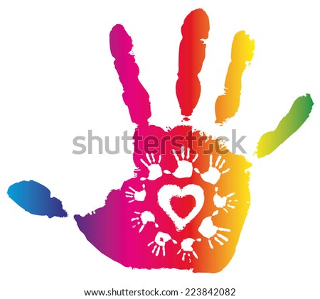 Detail imprint of color hand, vector illustration on white background - stock vector