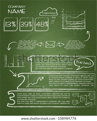 Detail infographic vector illustration. Drawn with chalk on a blackboard. Esy to edit - stock vector