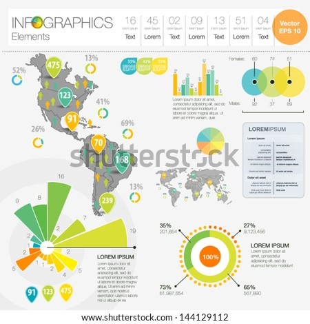 Detail infographic vector illustration. Map of North and South America, icon and Information Graphics. Easy to edit country - stock vector
