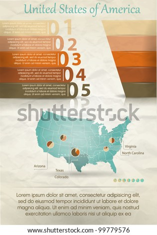 Detail infographic vector illustration. Map of the United States of America and Information Graphics. Easy to edit states - stock vector