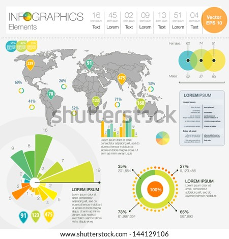 Detail infographic vector illustration. Map of World, icon and Information Graphics. Easy to edit country - stock vector