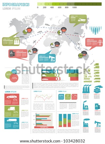 Detail infographic vector illustration. Map of World, icon of car and factory, and Information Graphics. Easy to edit - stock vector