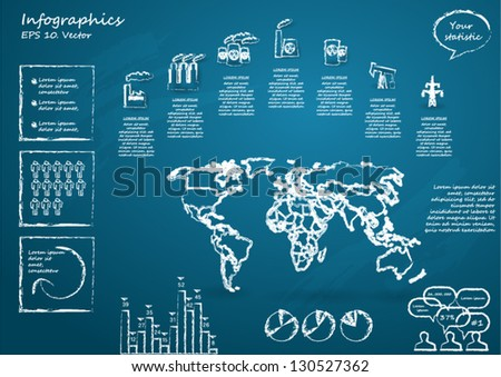 Detail infographic vector illustration with World Map, industrial infographics and Information Graphics.  Drawn with chalk on a blackboard. Easy to edit - stock vector