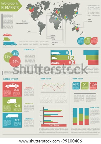 Detail infographic vector illustration. World Map and Information Graphics summary info about the cars and manufacture - stock vector